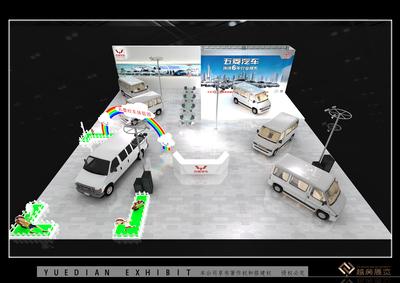 昆明车展-五菱展台-面积500㎡ 设计理念:汽车设计质感和视觉冲击力的展现,突出高端大气的品牌效益,结合4S店的风格设计